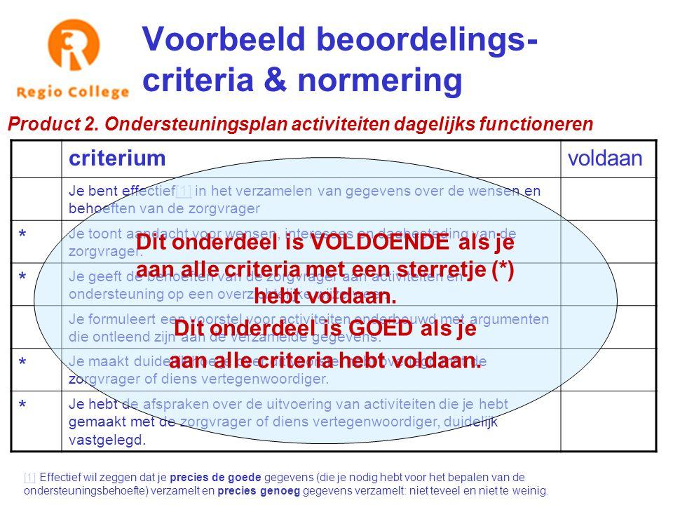 Voorbeeld beoordelings- criteria & normering