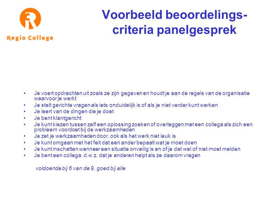 Voorbeeld beoordelings- criteria panelgesprek