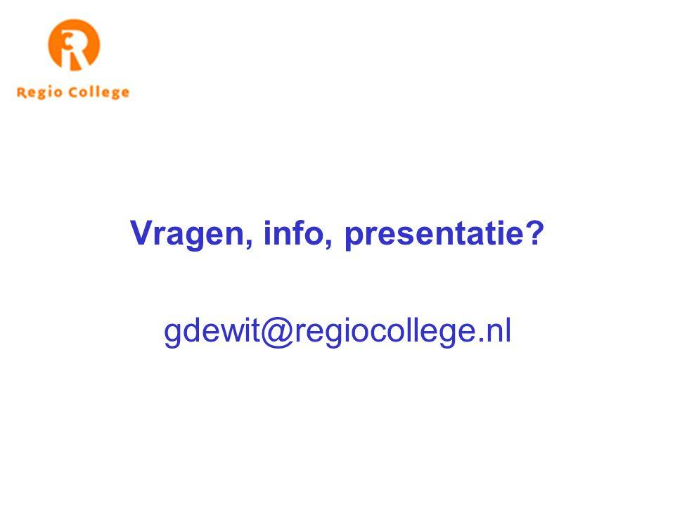 Vragen, info, presentatie