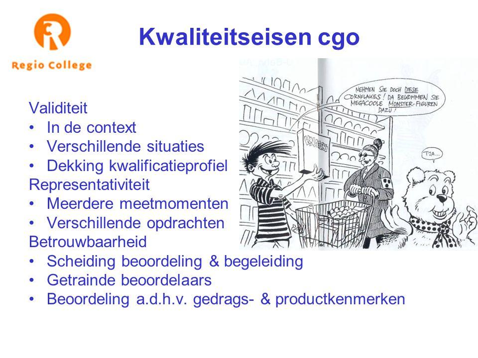 Kwaliteitseisen cgo Validiteit In de context Verschillende situaties