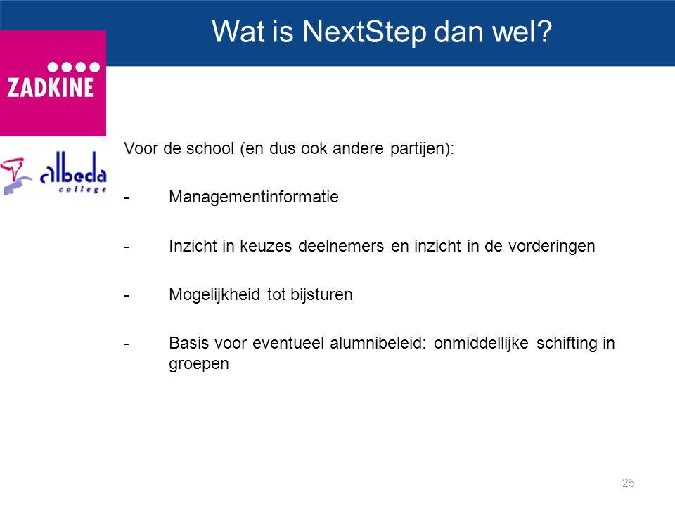 Wat is NextStep dan wel Voor de school (en dus ook andere partijen):