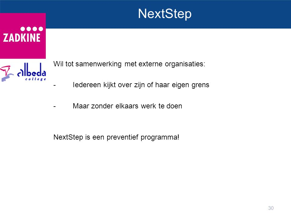 NextStep Wil tot samenwerking met externe organisaties: