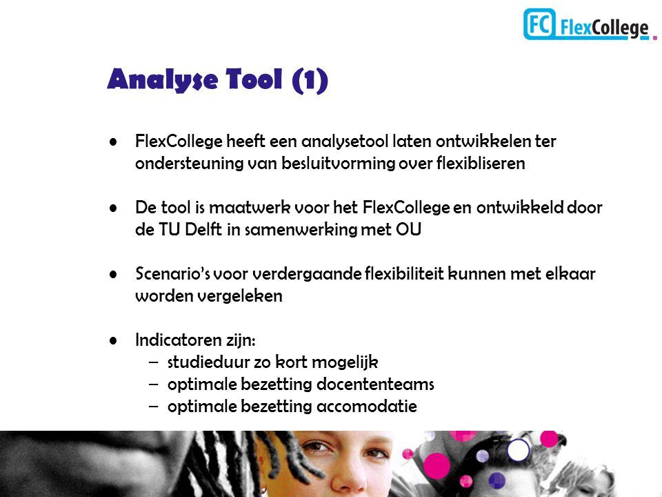 Analyse Tool (1) FlexCollege heeft een analysetool laten ontwikkelen ter ondersteuning van besluitvorming over flexibliseren.