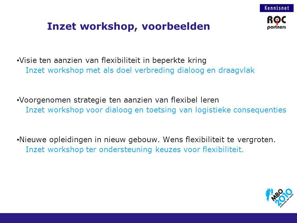 Inzet workshop, voorbeelden