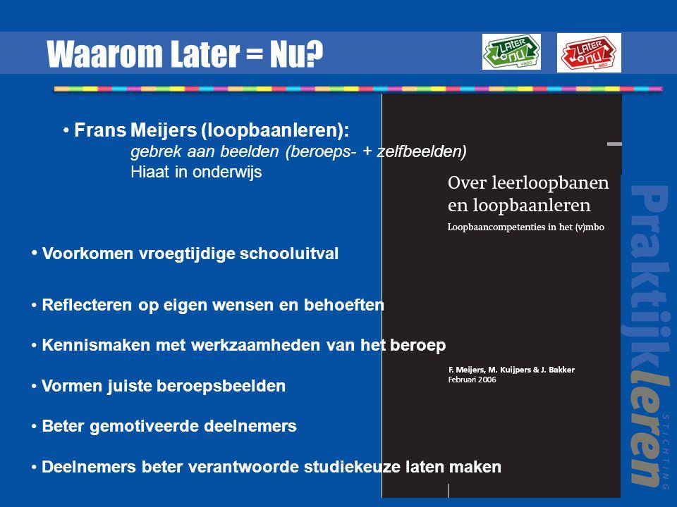 Waarom Later = Nu Frans Meijers (loopbaanleren):