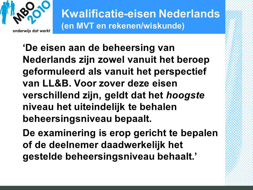 Kwalificatie-eisen Nederlands (en MVT en rekenen/wiskunde)