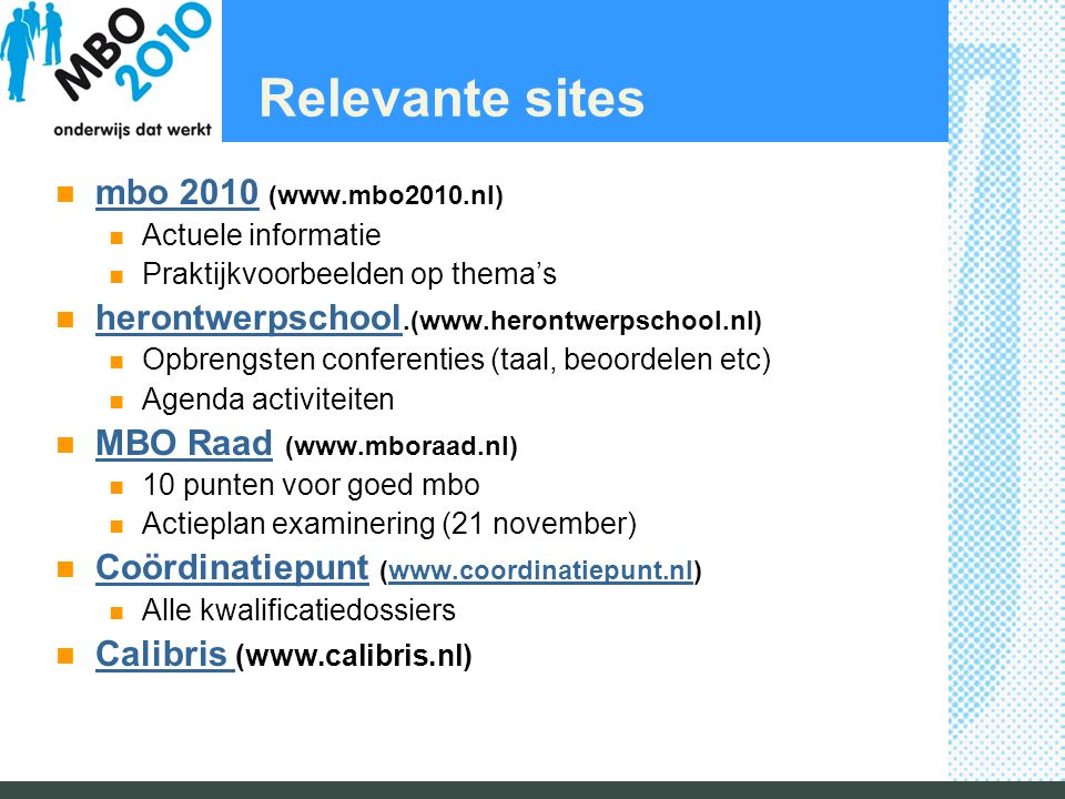 Relevante sites mbo 2010 (www.mbo2010.nl)