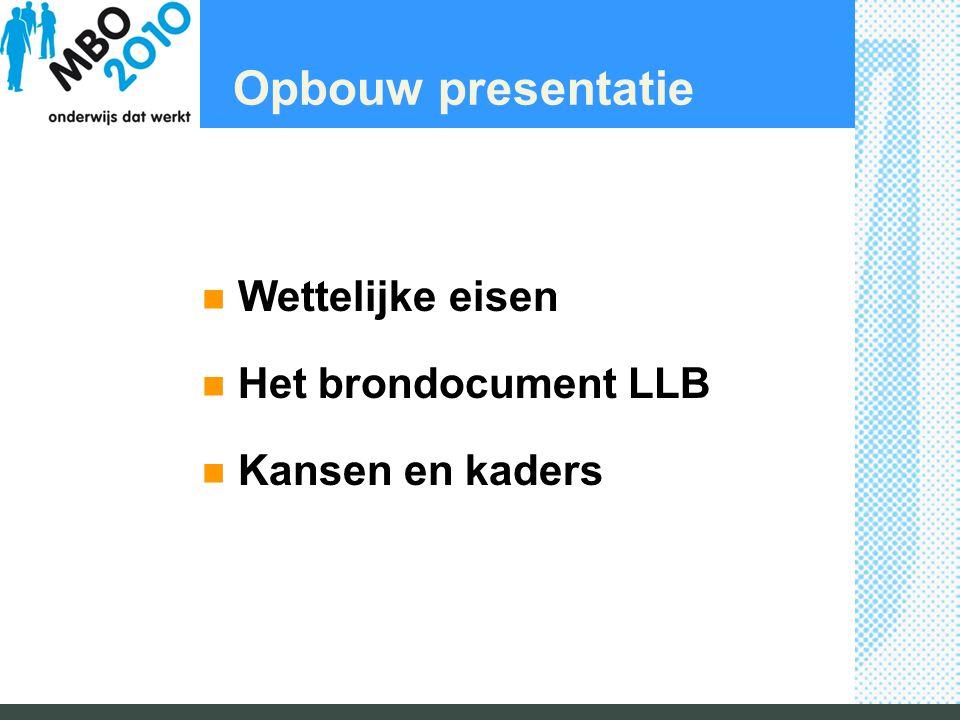 Opbouw presentatie Wettelijke eisen Het brondocument LLB