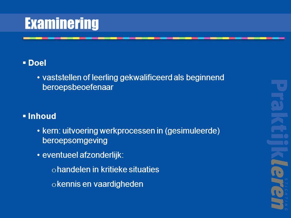 Examinering Doel. vaststellen of leerling gekwalificeerd als beginnend beroepsbeoefenaar. Inhoud.