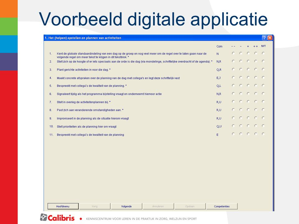 Voorbeeld digitale applicatie