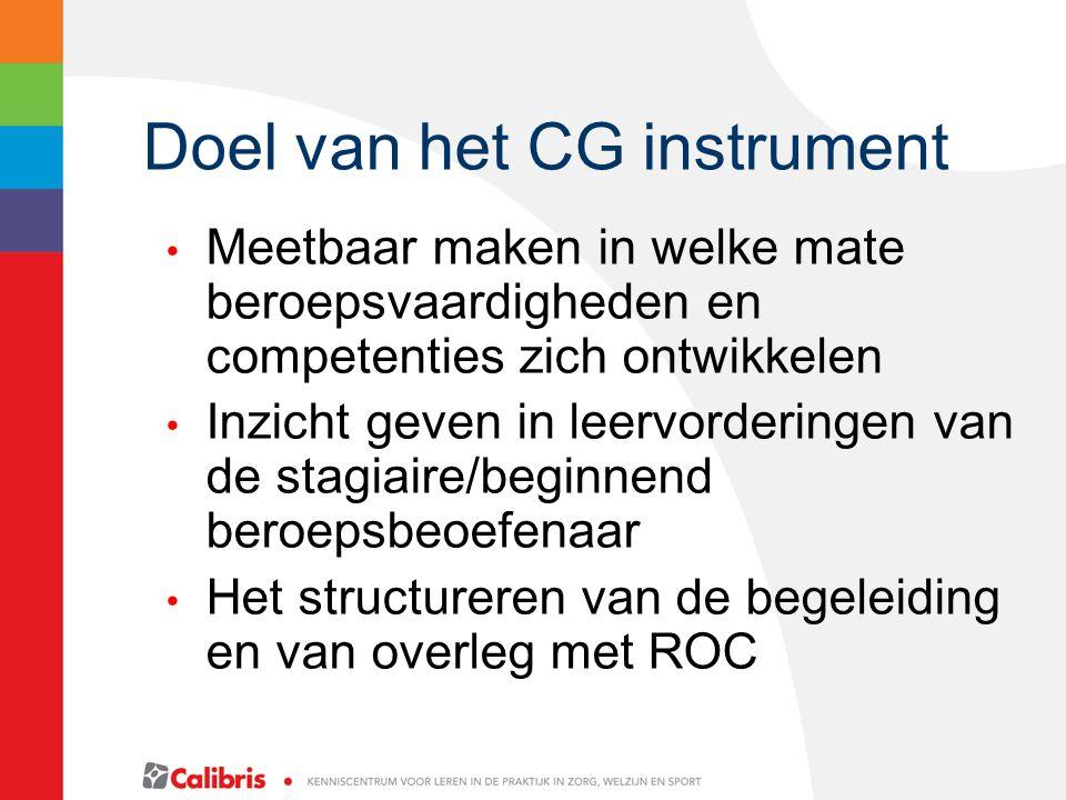 Doel van het CG instrument