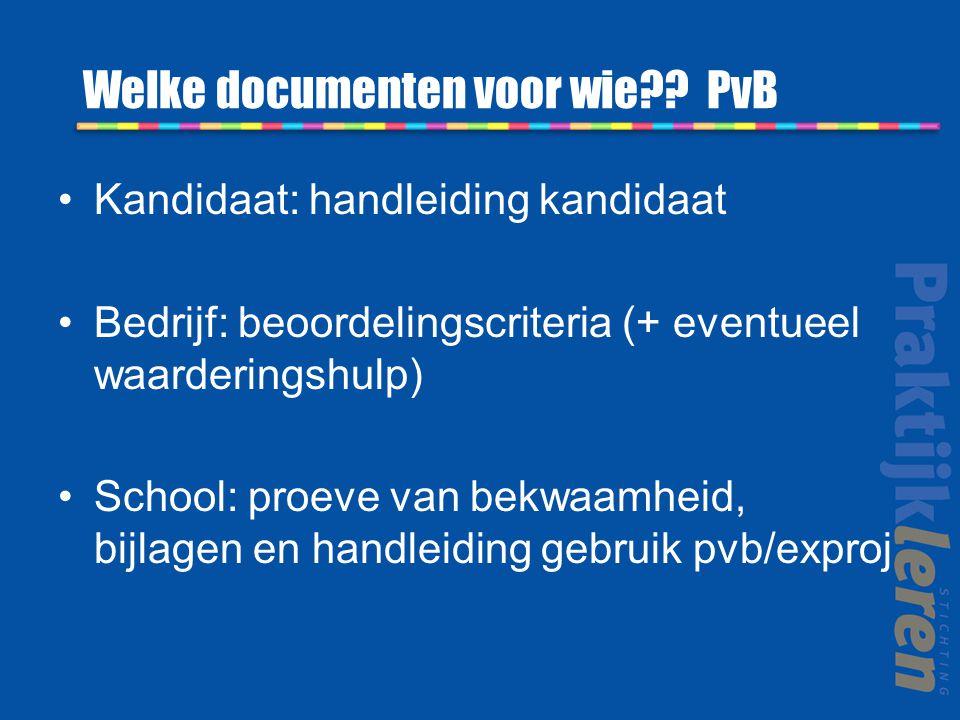 Welke documenten voor wie PvB