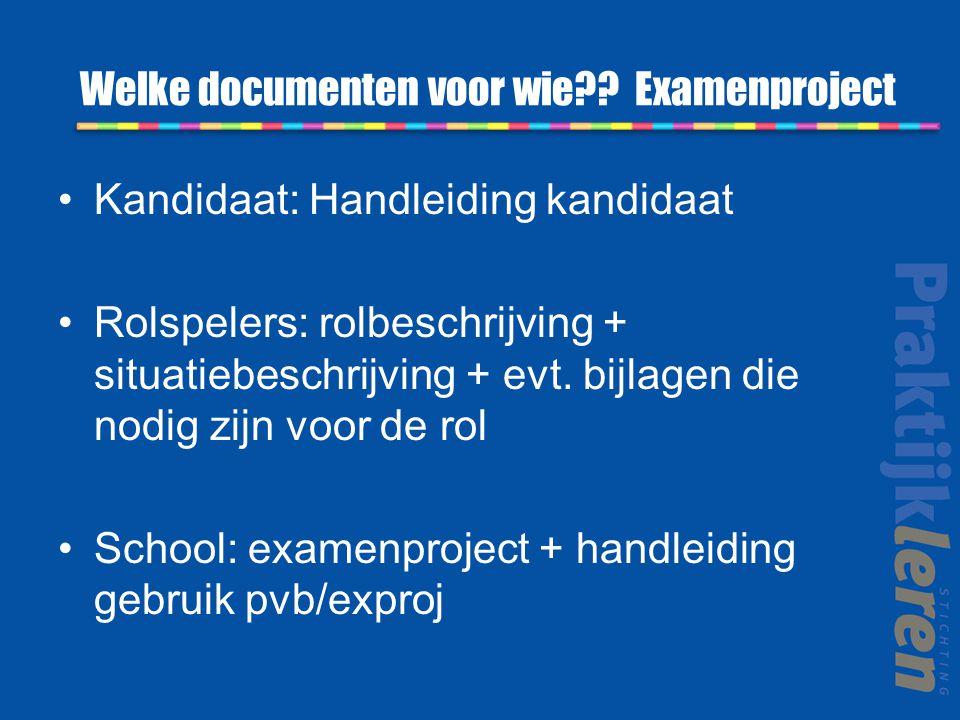 Welke documenten voor wie Examenproject