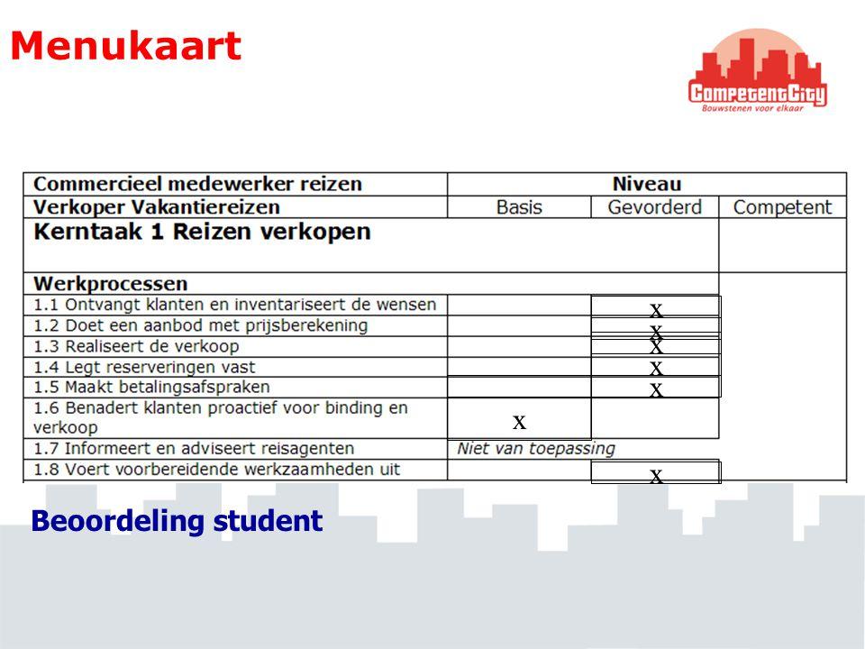 Menukaart x x x x x x x Beoordeling student