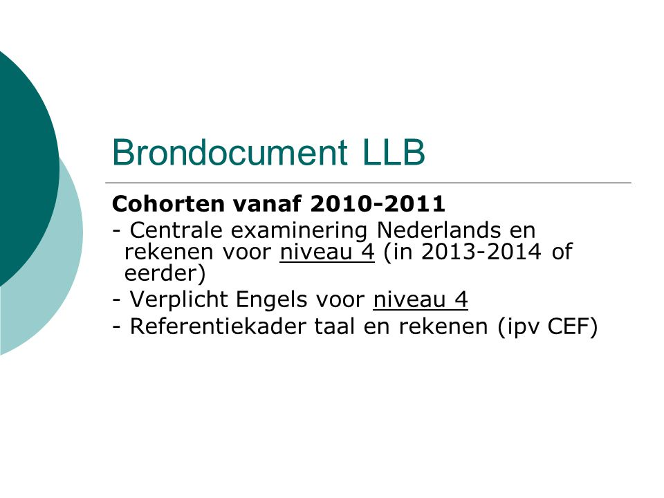 Brondocument LLB Cohorten vanaf 2010-2011