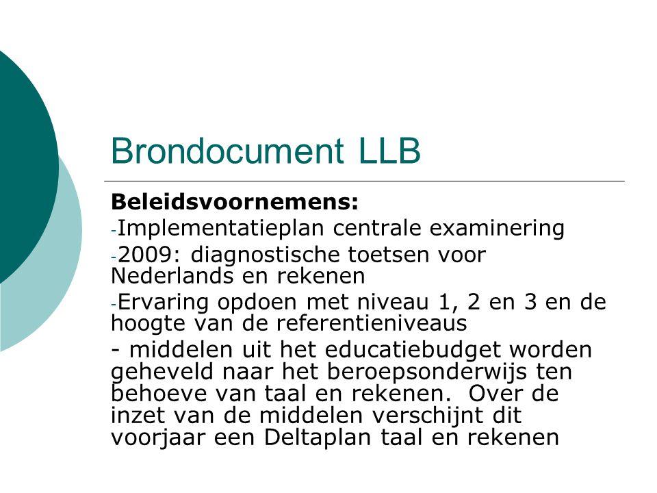 Brondocument LLB Beleidsvoornemens: Implementatieplan centrale examinering. 2009: diagnostische toetsen voor Nederlands en rekenen.