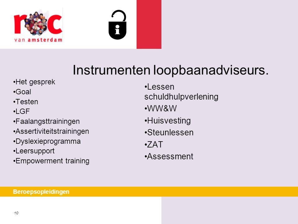 Instrumenten loopbaanadviseurs.