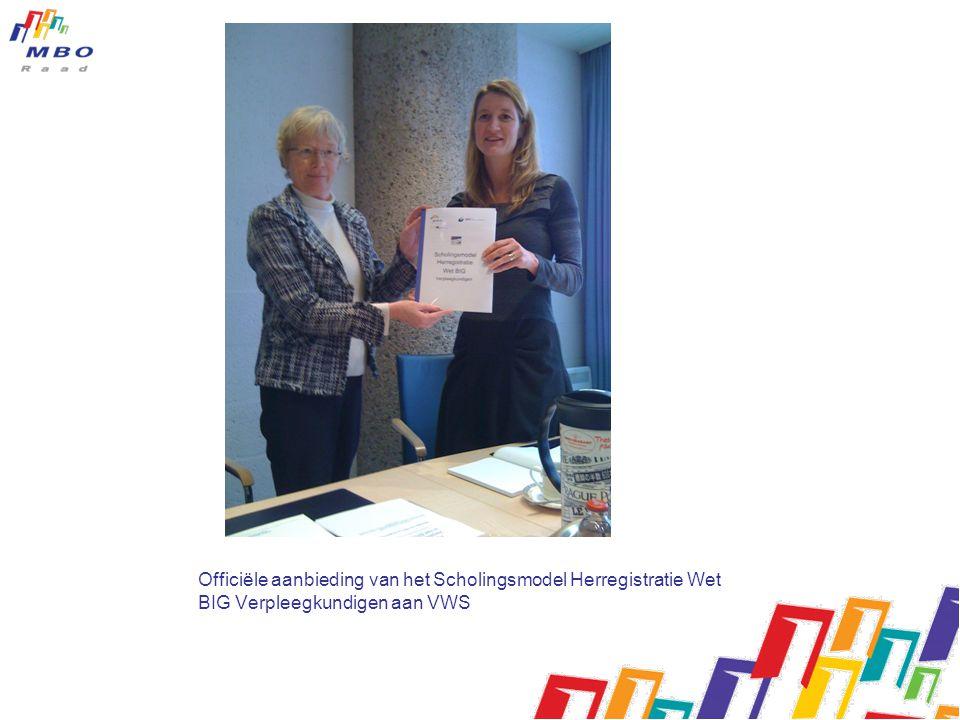 Officiële aanbieding van het Scholingsmodel Herregistratie Wet BIG Verpleegkundigen aan VWS