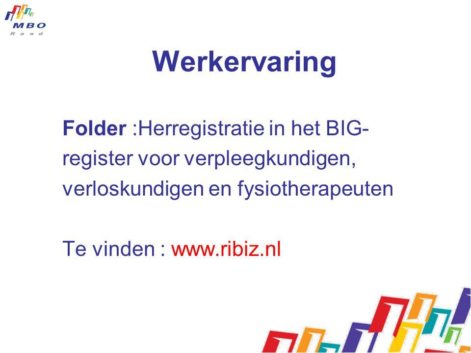 Werkervaring Folder :Herregistratie in het BIG- register voor verpleegkundigen, verloskundigen en fysiotherapeuten Te vinden : www.ribiz.nl