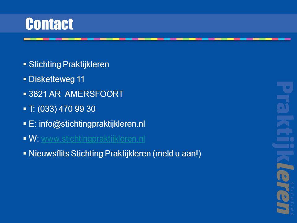 Contact Stichting Praktijkleren Disketteweg 11 3821 AR AMERSFOORT