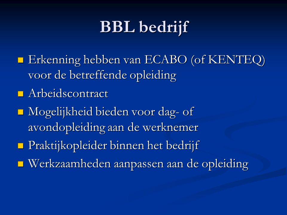BBL bedrijf Erkenning hebben van ECABO (of KENTEQ) voor de betreffende opleiding. Arbeidscontract.