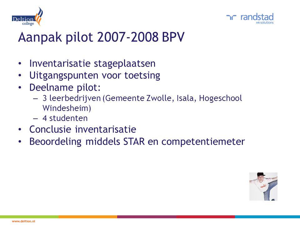 Aanpak pilot 2007-2008 BPV Inventarisatie stageplaatsen