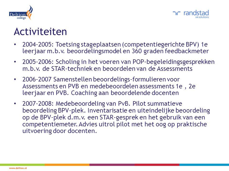 Activiteiten 2004-2005: Toetsing stageplaatsen (competentiegerichte BPV) 1e leerjaar m.b.v. beoordelingsmodel en 360 graden feedbackmeter.