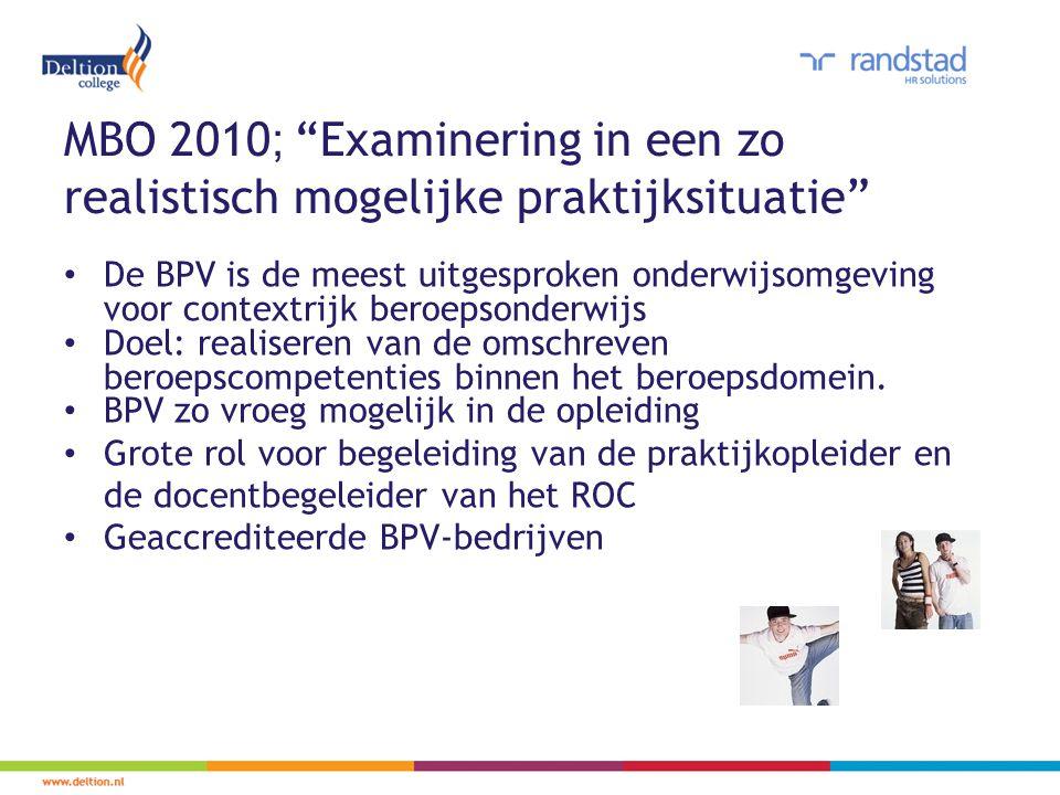 MBO 2010; Examinering in een zo realistisch mogelijke praktijksituatie