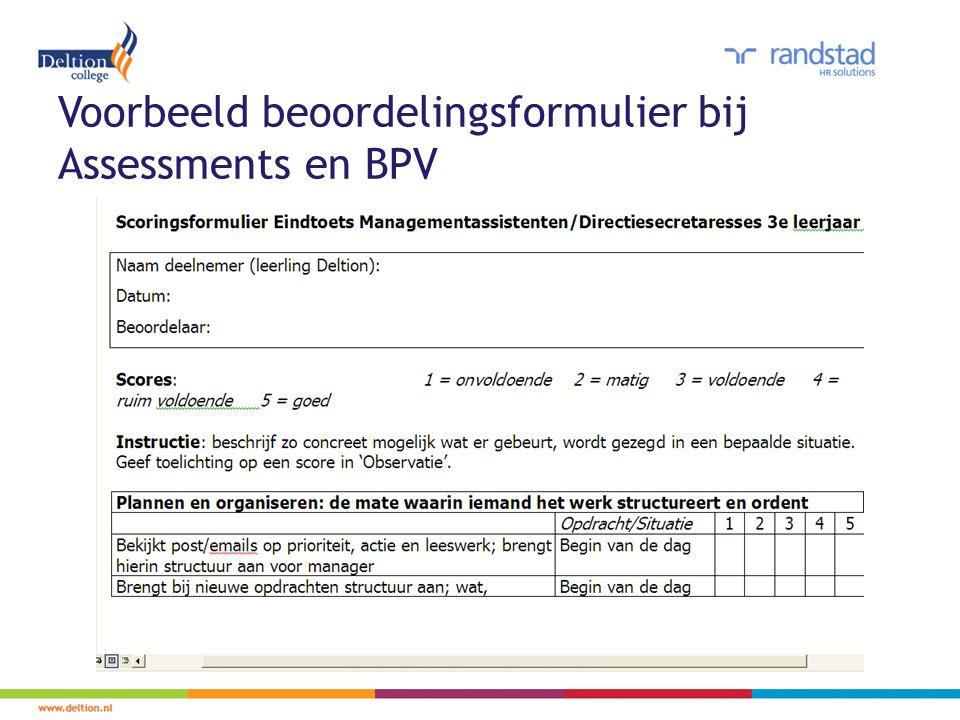 Voorbeeld beoordelingsformulier bij Assessments en BPV