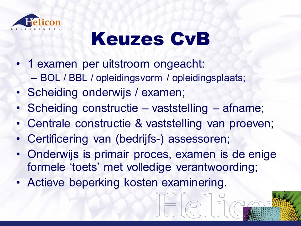 Keuzes CvB 1 examen per uitstroom ongeacht: