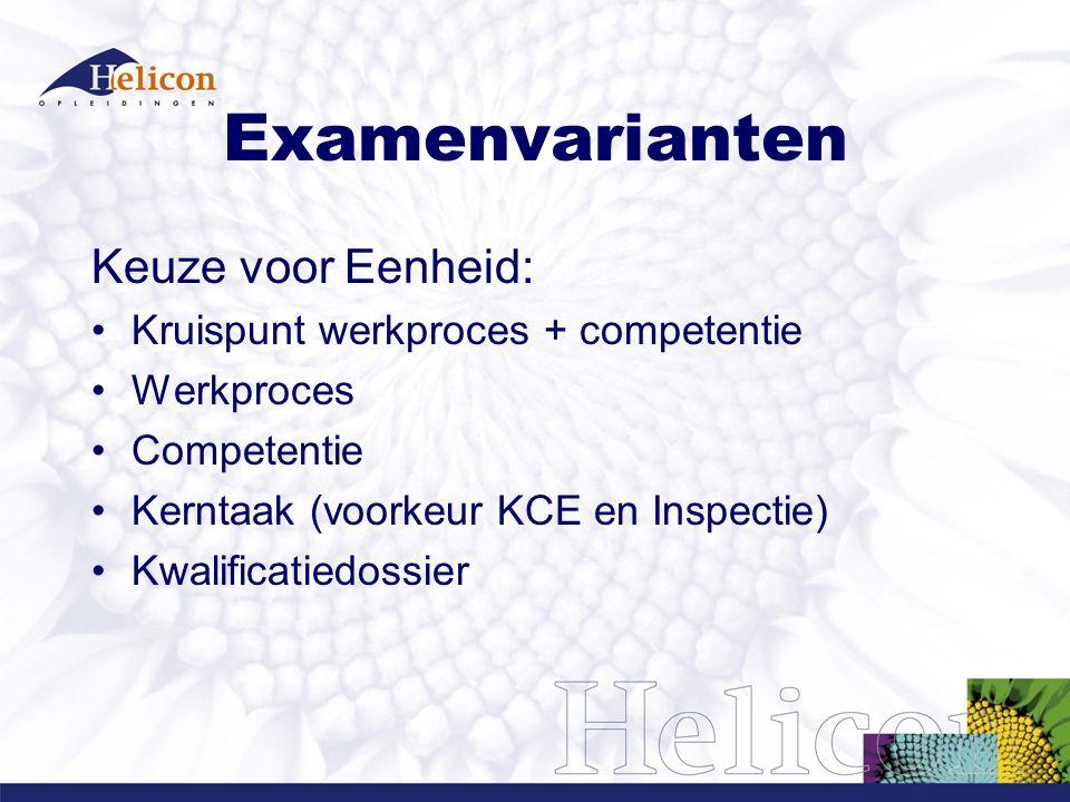 Examenvarianten Keuze voor Eenheid: Kruispunt werkproces + competentie