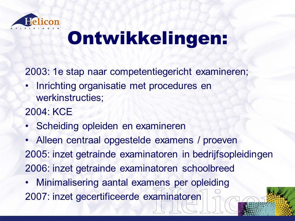 Ontwikkelingen: 2003: 1e stap naar competentiegericht examineren;