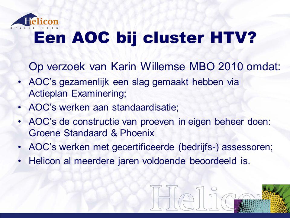Een AOC bij cluster HTV Op verzoek van Karin Willemse MBO 2010 omdat: