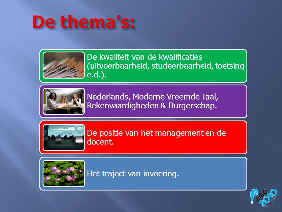 De thema's: Inhoud: programmering, onderwijskundige inrichting,