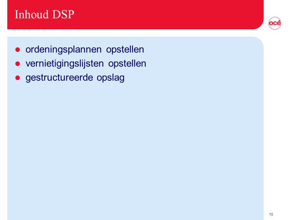 Inhoud DSP ordeningsplannen opstellen vernietigingslijsten opstellen
