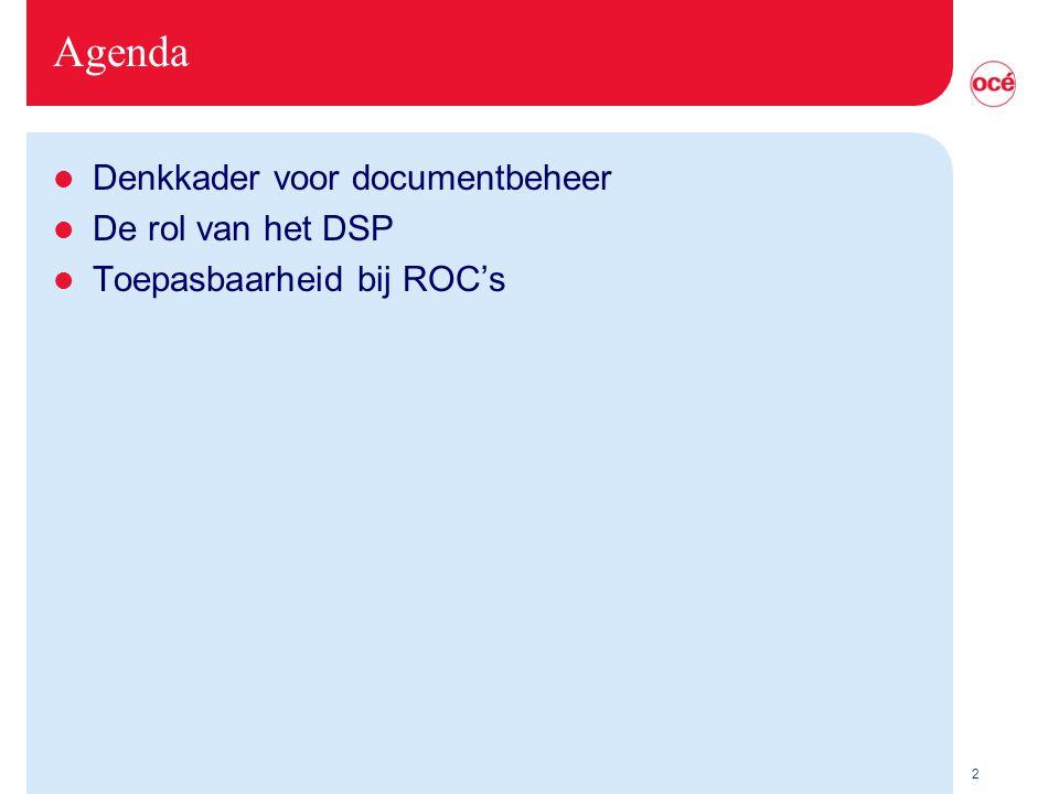 Agenda Denkkader voor documentbeheer De rol van het DSP