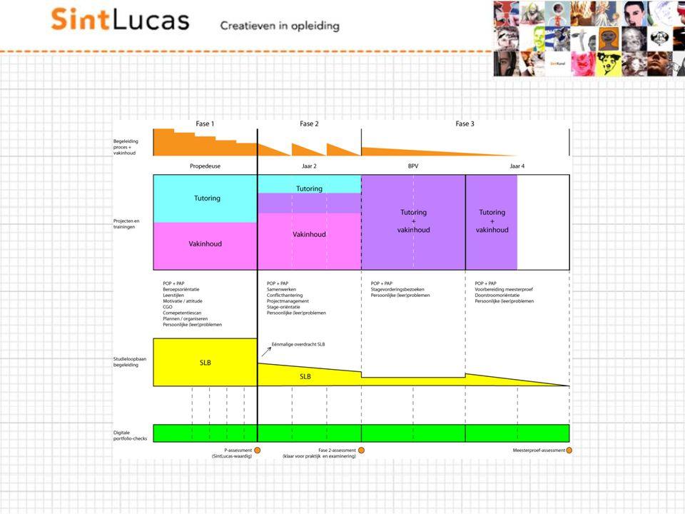 Portfolio is een loos begrip, het krijgt betekenis door de doelstelling die je eraan verleend. Voor SintLucas is de dynamiek begeleiding, studieloopbaanbegeleiding en portfolio door de CV'ers samen met de onderwijsadviseurs in kaart gebracht. Het is nog concept maar wel een kijkje in de keuken.
