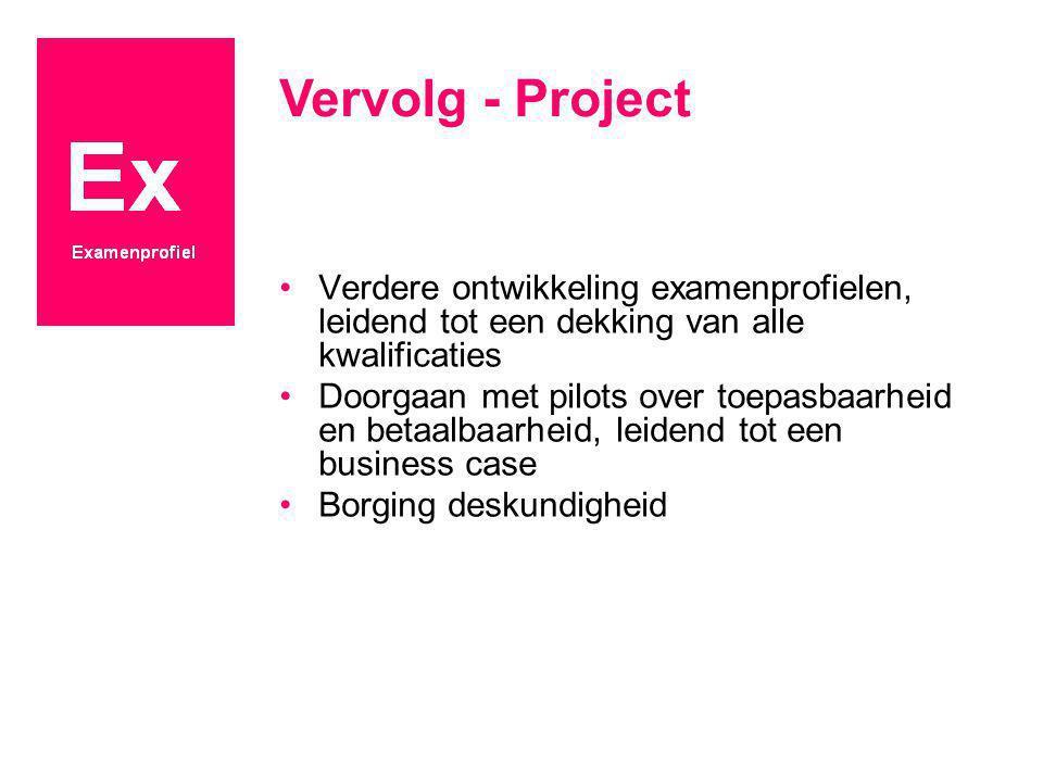 Vervolg - Project Verdere ontwikkeling examenprofielen, leidend tot een dekking van alle kwalificaties.