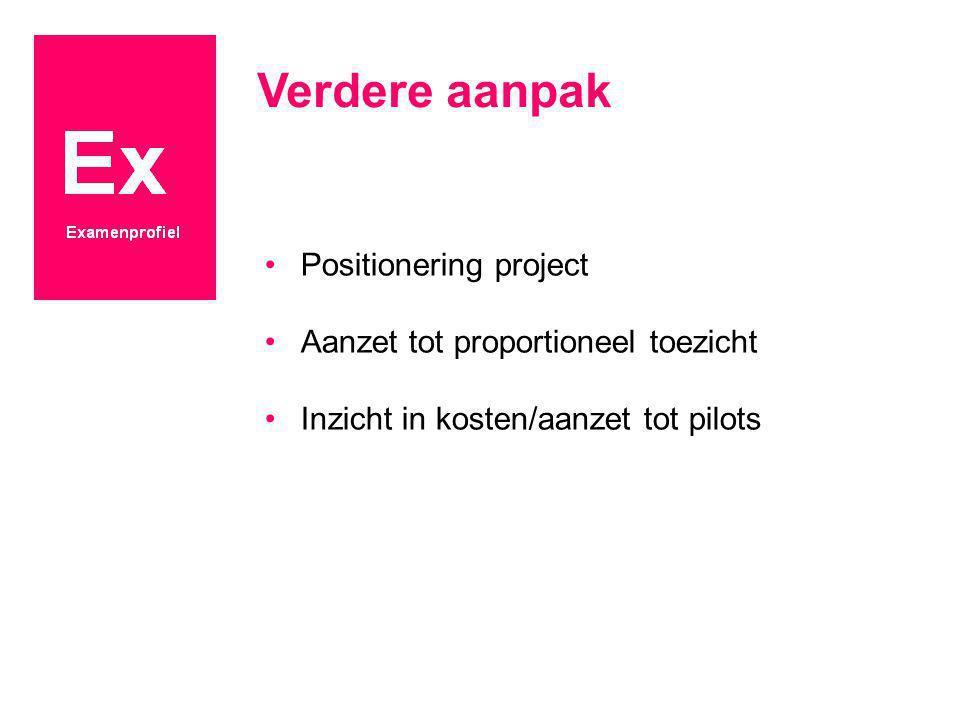 Verdere aanpak Positionering project Aanzet tot proportioneel toezicht