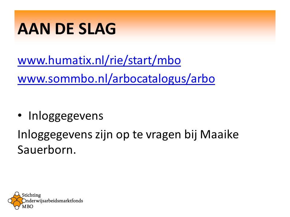 AAN DE SLAG www.humatix.nl/rie/start/mbo
