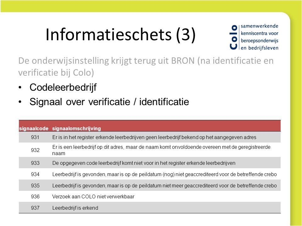 Informatieschets (3) De onderwijsinstelling krijgt terug uit BRON (na identificatie en verificatie bij Colo)