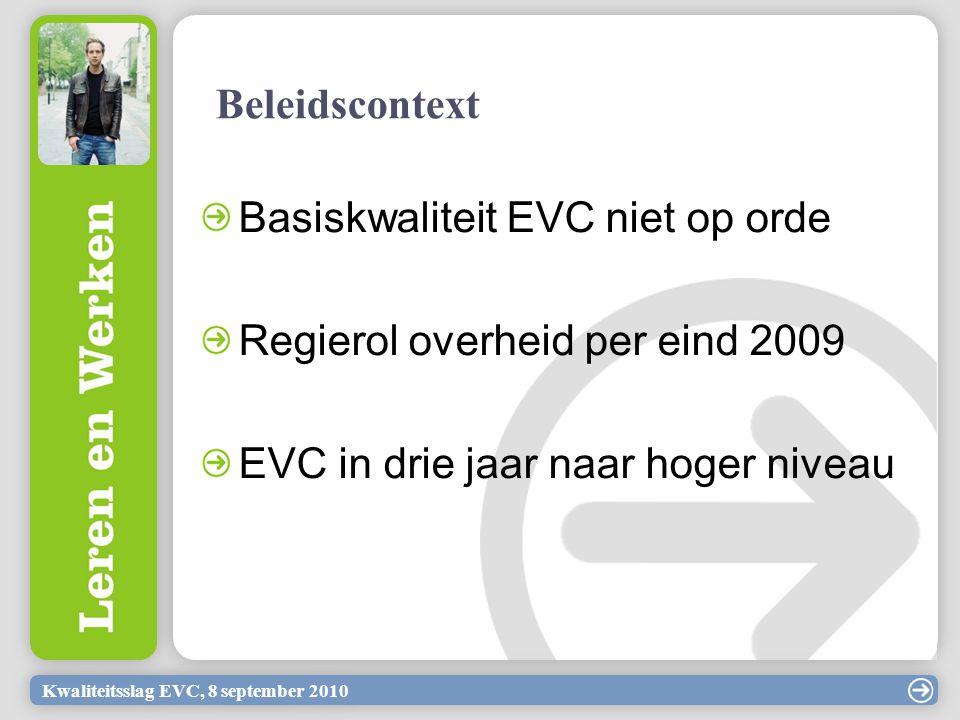 Basiskwaliteit EVC niet op orde Regierol overheid per eind 2009