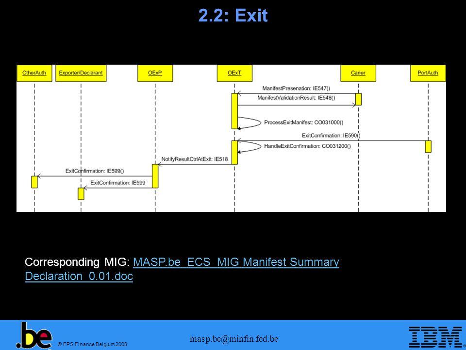 2.2: Exit Corresponding MIG: MASP.be_ECS_MIG Manifest Summary Declaration_0.01.doc.