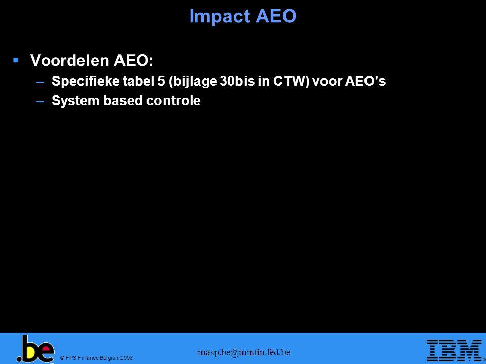 Impact AEO Voordelen AEO: