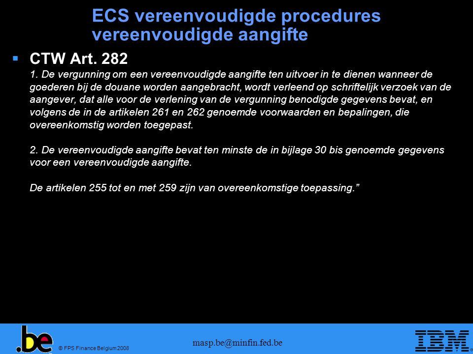ECS vereenvoudigde procedures vereenvoudigde aangifte