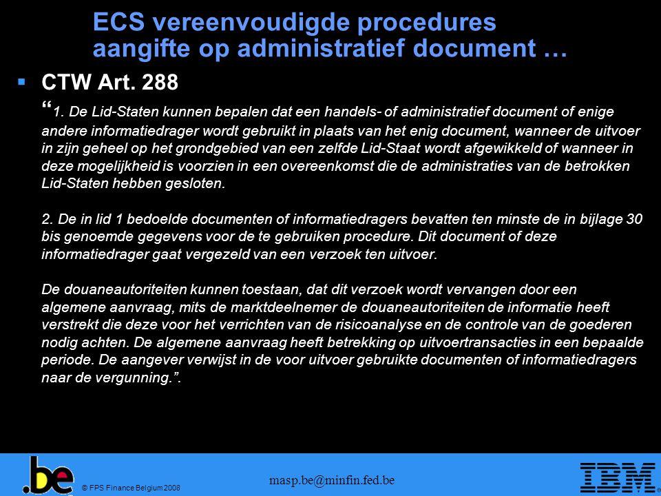 ECS vereenvoudigde procedures aangifte op administratief document …