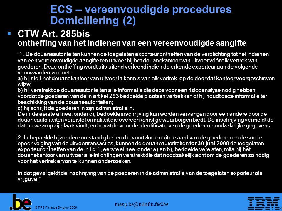 ECS – vereenvoudigde procedures Domiciliering (2)