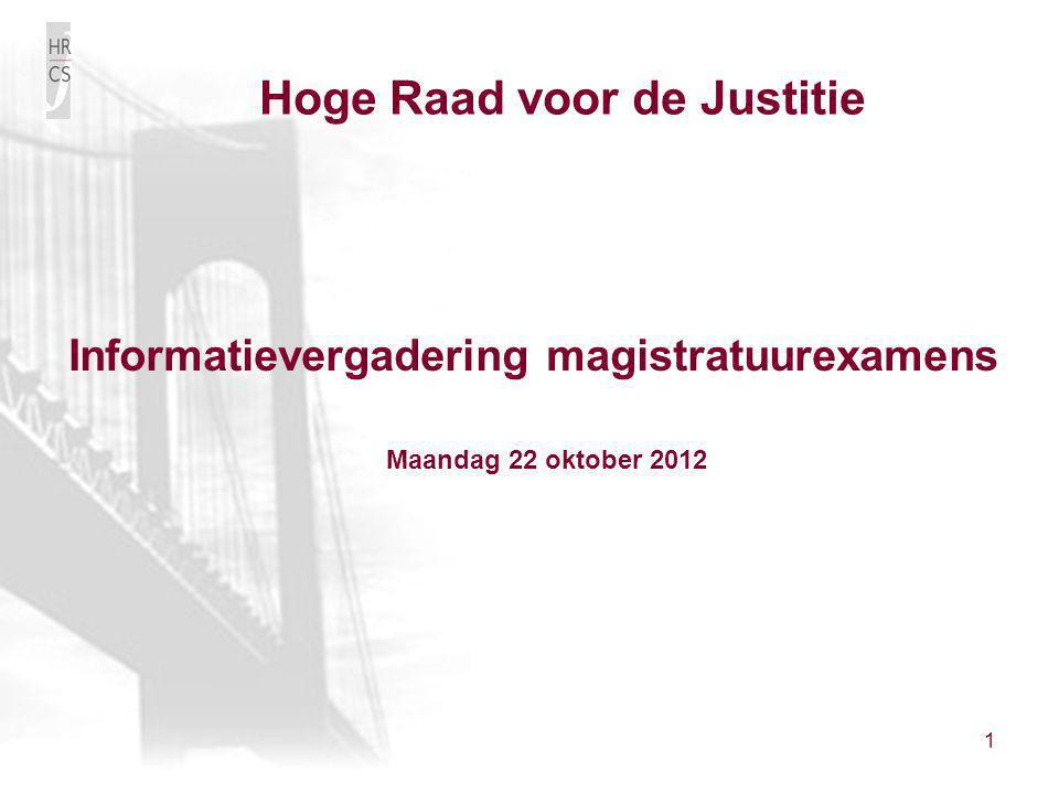 Hoge Raad voor de Justitie Informatievergadering magistratuurexamens