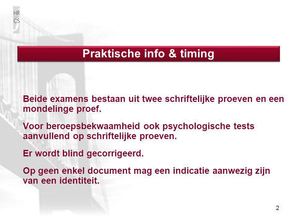 Praktische info & timing