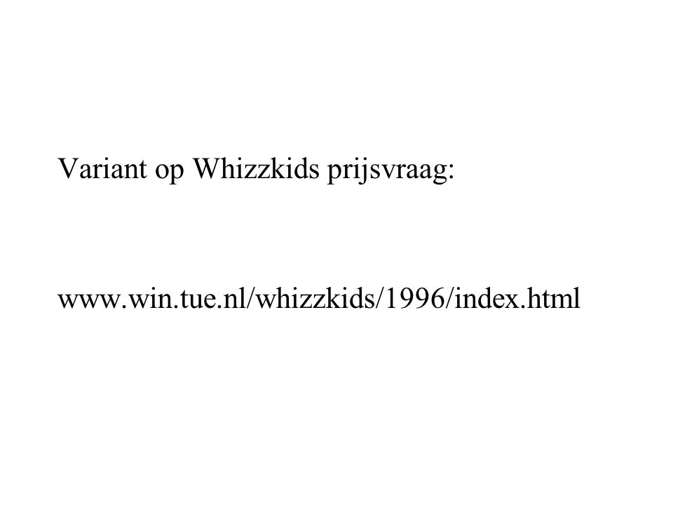 Variant op Whizzkids prijsvraag: